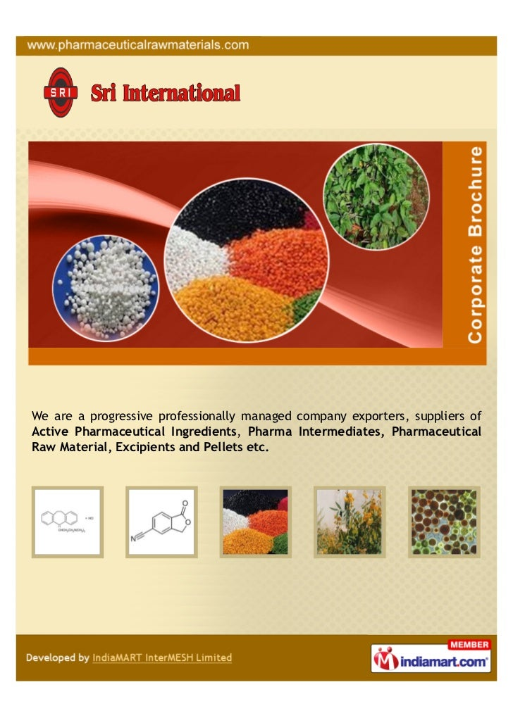 We are a progressive professionally managed company exporters, suppliers ofActive Pharmaceutical Ingredients, Pharma Inter...
