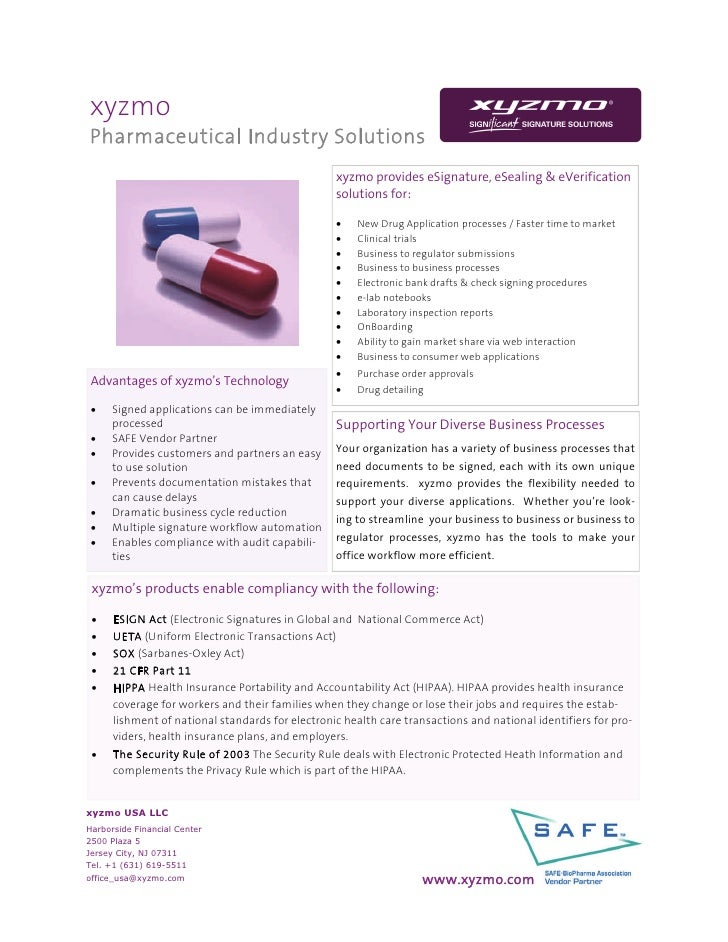 xyzmo Pharmaceutical Industry Solutions                                                   xyzmo provides eSignature, eSeal...