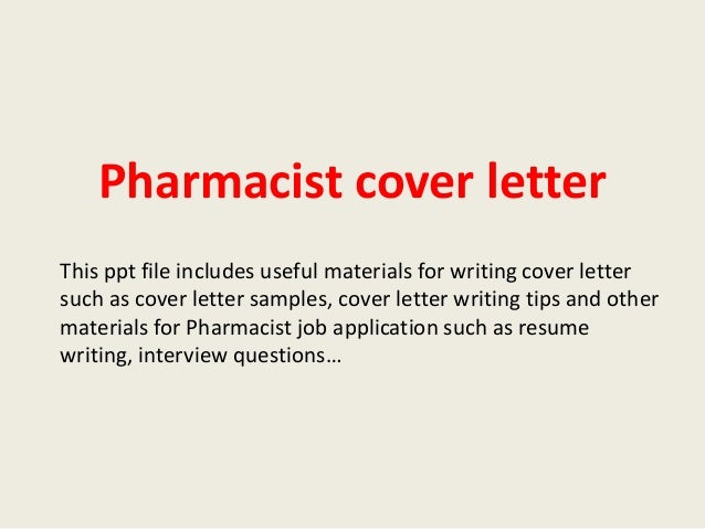 Pharmacist Cover Letter This Ppt File Includes Useful Materials For Writing Such As Sample