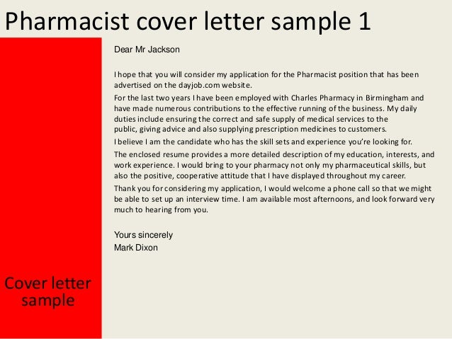 pharmacist cover letter sample - Pharmacist Cover Letter Example