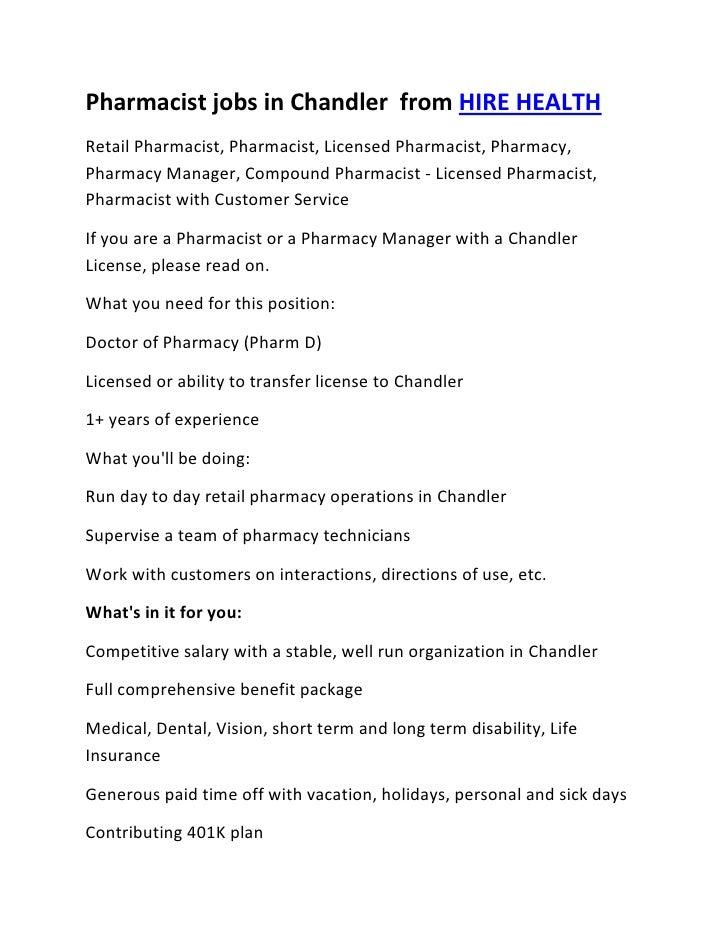Pharmacist jobs in Chandler  from HIRE HEALTH<br />Retail Pharmacist, Pharmacist, Licensed Pharmacist, Pharmacy, Pharmacy ...
