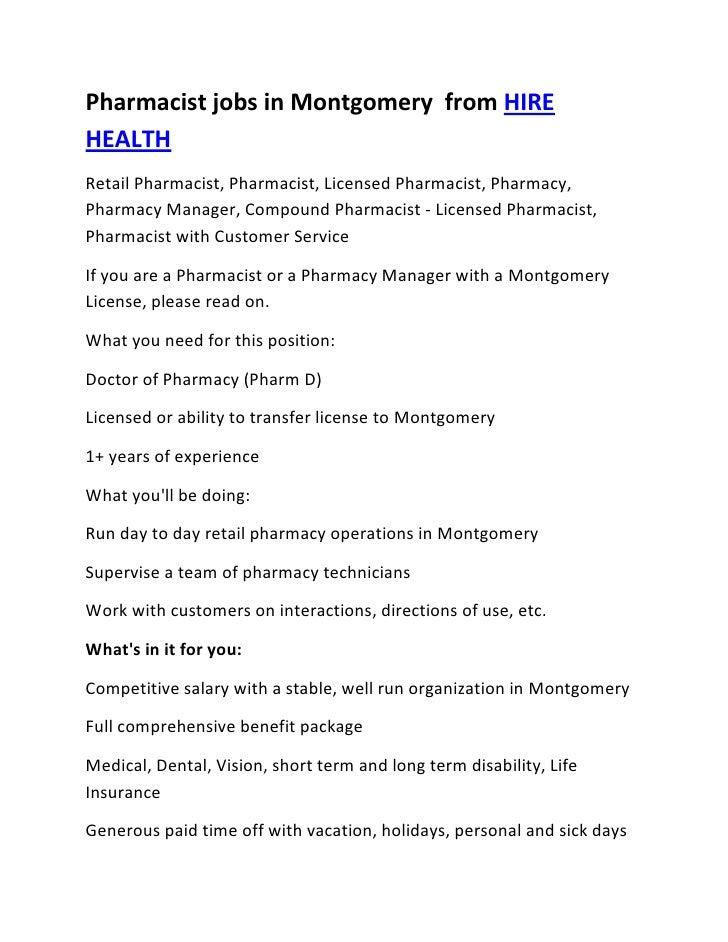Pharmacist jobs in Montgomery  from HIRE HEALTH<br />Retail Pharmacist, Pharmacist, Licensed Pharmacist, Pharmacy, Pharmac...