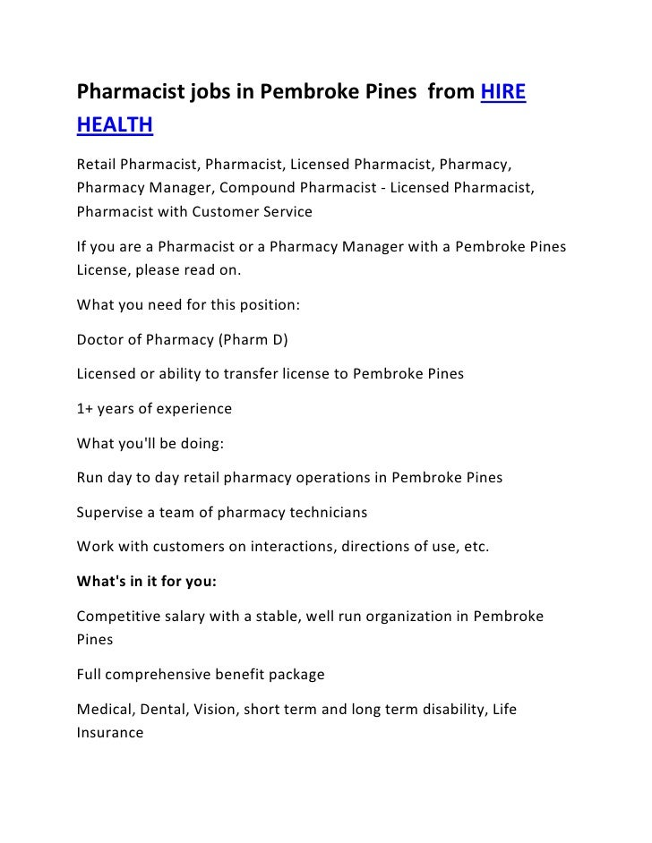Pharmacist jobs in Pembroke Pines  from HIRE HEALTH<br />Retail Pharmacist, Pharmacist, Licensed Pharmacist, Pharmacy, Pha...