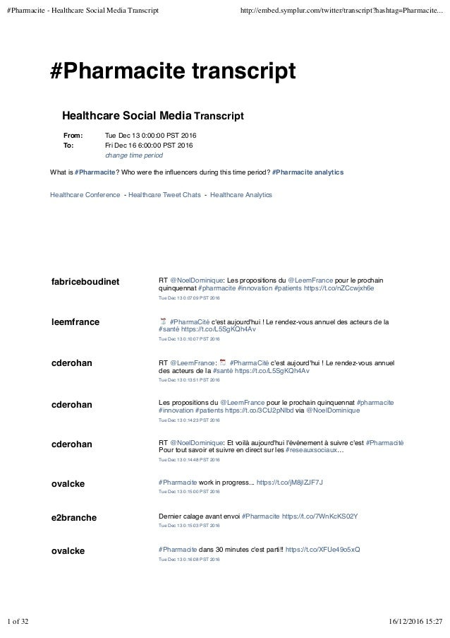 #Pharmacite transcript Healthcare Social Media Transcript From: Tue Dec 13 0:00:00 PST 2016 To: Fri Dec 16 6:00:00 PST 201...
