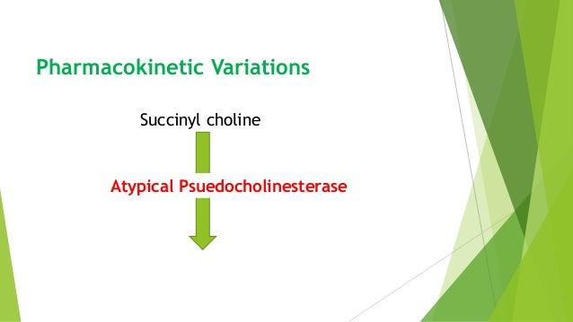 Pharmacokinetic Variations Succinyl choline PsuedocholinesteraseAtypical Psuedocholinesterase