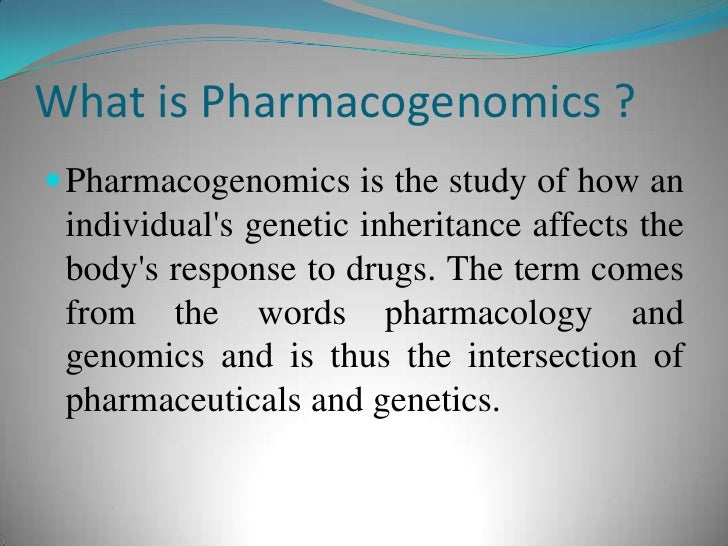 Conti… Pharmacogenomics holds the promise that drugs might one day be tailor-made for individuals and adapted to each pers...