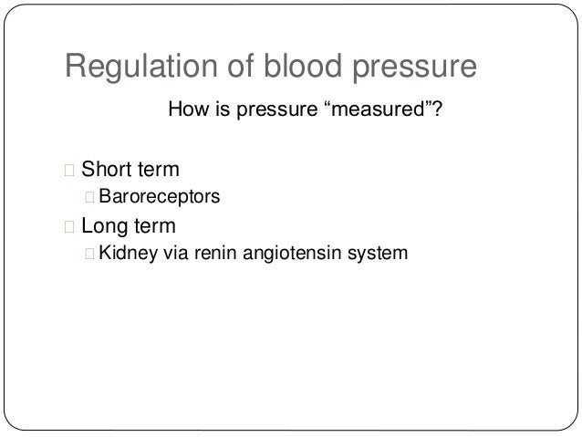 control of blood pressure