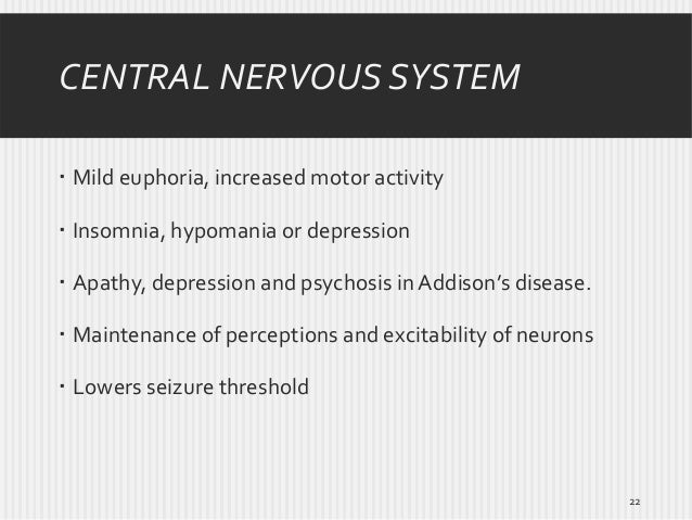 CENTRAL NERVOUS SYSTEM  Mild euphoria, increased motor activity  Insomnia, hypomania or depression  Apathy, depression ...