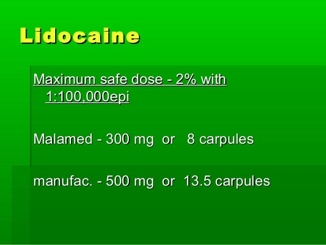 mg lidocaine in 1 carpule