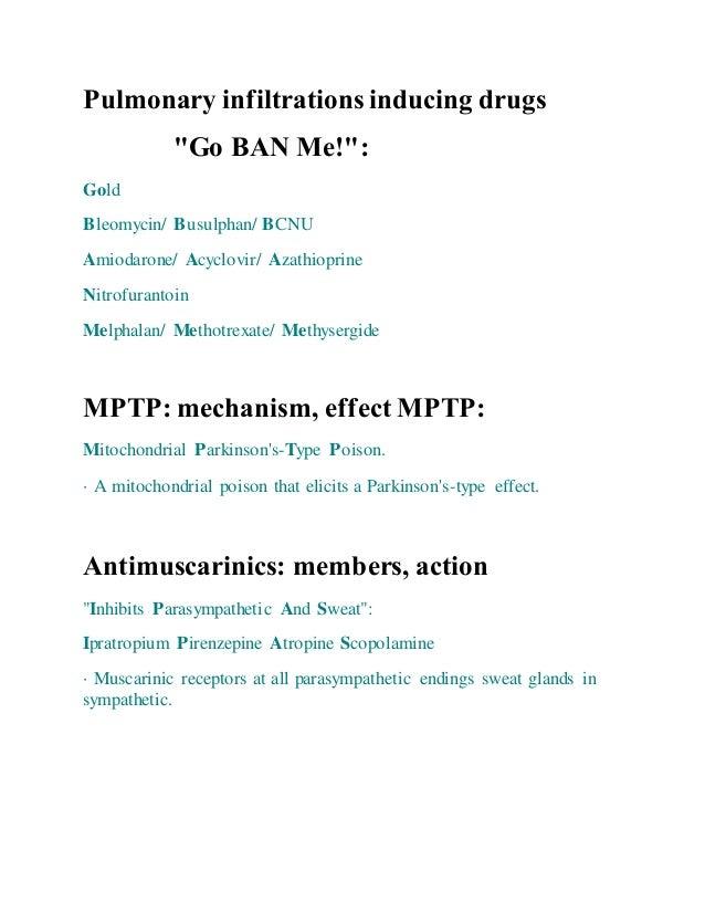 "Pulmonary infiltrations inducing drugs ""Go BAN Me!"": Gold Bleomycin/ Busulphan/ BCNU Amiodarone/ Acyclovir/ Azathioprine N..."