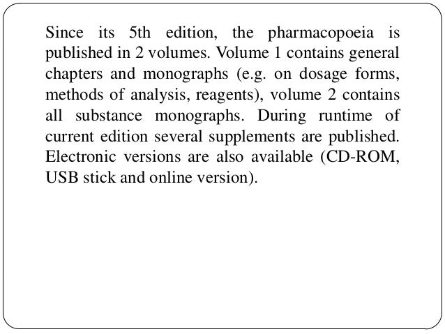 Pharmacopoeias 30 since its 5th edition the pharmacopoeia fandeluxe Choice Image