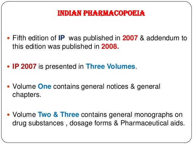 Pharmacopoeias 6 indian pharmacopoeia fifth edition of fandeluxe Gallery