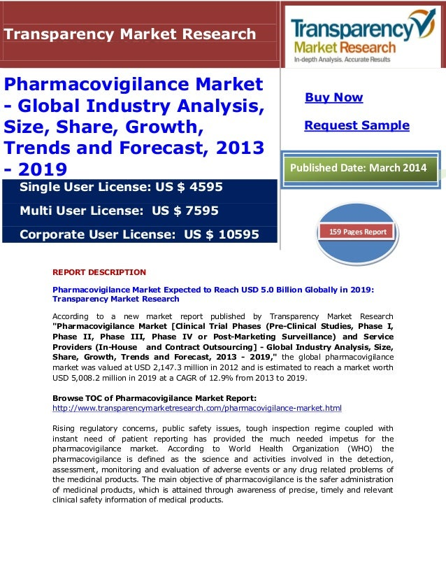 REPORT DESCRIPTION Pharmacovigilance Market Expected to Reach USD 5.0 Billion Globally in 2019: Transparency Market Resear...