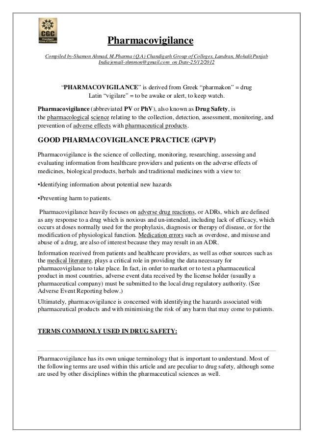 Pharmacovigilance Compiled by-Shamon Ahmad, M.Pharma (Q.A) Chandigarh Group of Colleges, Landran, Mohali(Punjab India)emai...