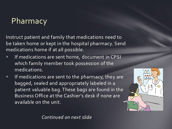 PharmacyInstruct patient and family that medications need tobe taken home or kept in the hospital pharmacy. Sendmedication...