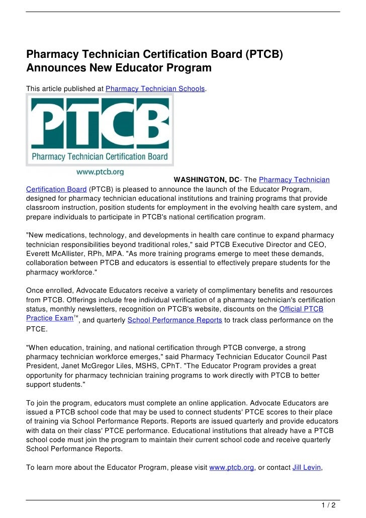 Pharmacy Technician Certification Board (PTCB) Announces New Educator…