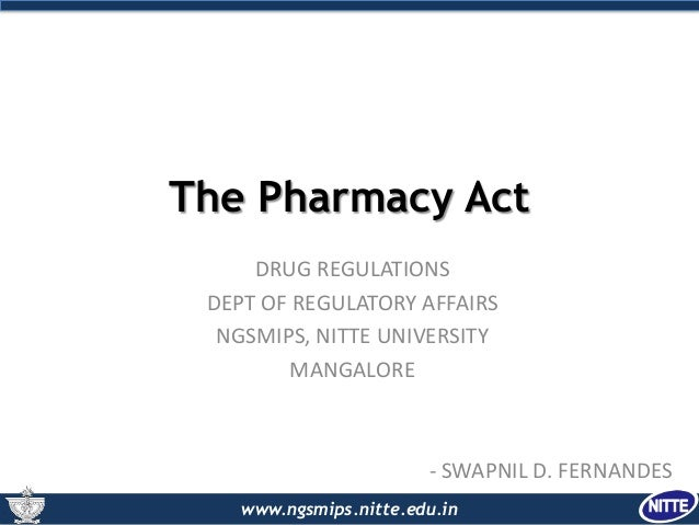 The Pharmacy act, 1948