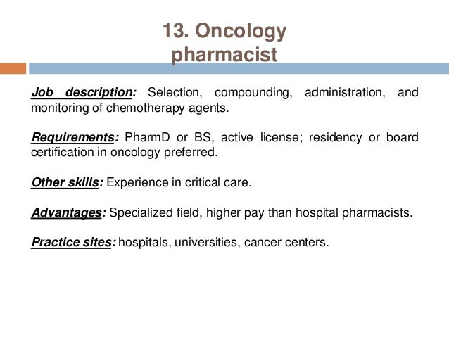 Pharmacy careers pharmacist practice settings – Pharmacist Job Description