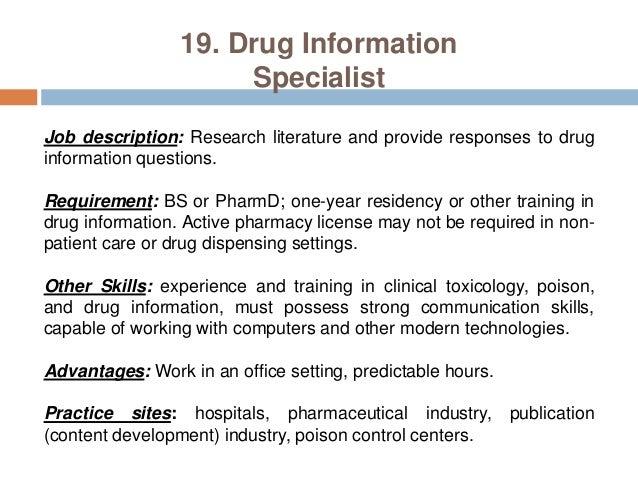21 19 drug information - Drug Information Pharmacist