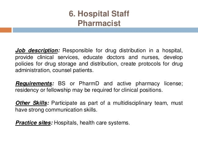 8 6 hospital staff pharmacist job description