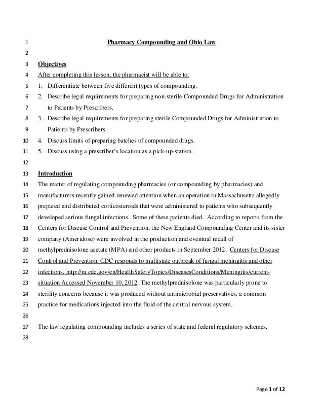 Page 1 of 12Pharmacy Compounding and Ohio Law12Objectives3After completing this lesson, the pharmacist will be able to:41....