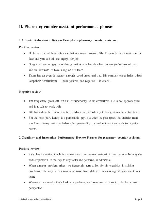 Pharmacy counter assistant performance appraisal