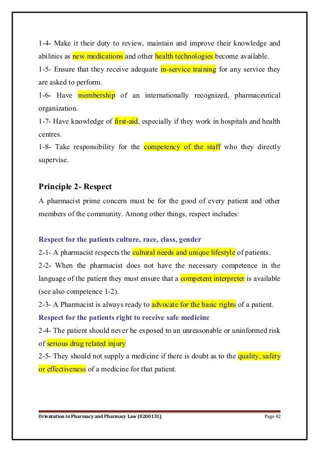 Pharmacy law and regulations 2014 – Pharmacist Duties