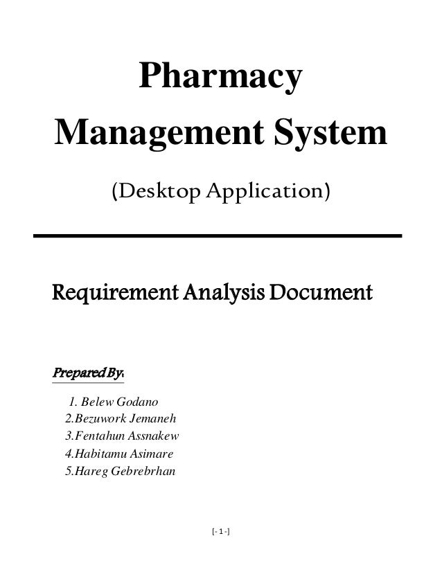 Pharmacy Management System Requirement Analysis And Elicitation Docum