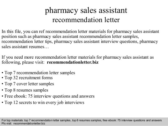 Pharmacy sales assistant recommendation letter – Sample Pharmacist Letter