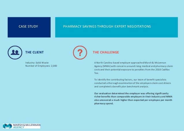CASE STUDY PHARMACY SAVINGS THROUGH EXPERT NEGOITATIONS THE CLIENT Industry: Solid Waste Number of Employees: 2,000 THE CH...