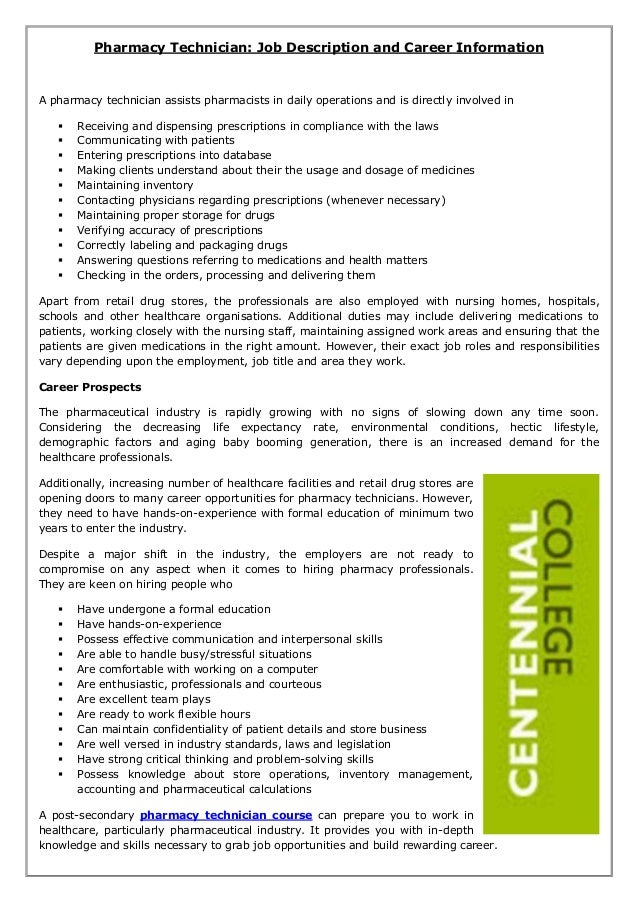 Pharmacy Technician: Job Description and Career Information A pharmacy technician assists pharmacists in daily operations ...