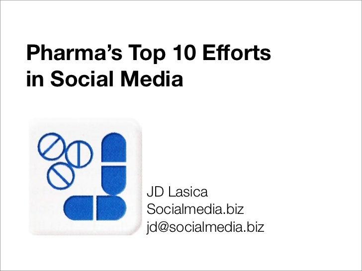 Pharma's Top 10 Efforts in Social Media                JD Lasica            Socialmedia.biz            jd@socialmedia.biz