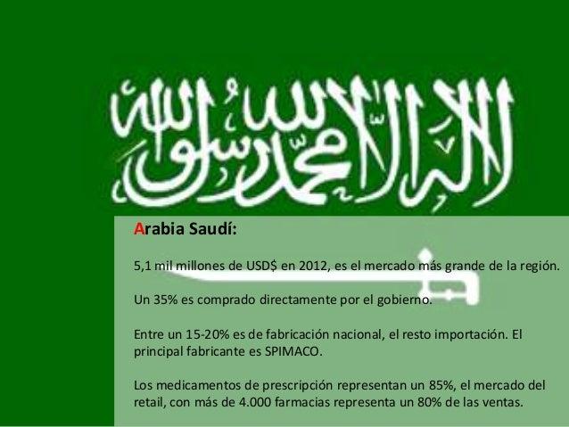 Arabia Saudí: 5,1 mil millones de USD$ en 2012, es el mercado más grande de la región. Un 35% es comprado directamente por...