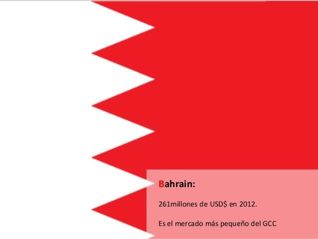 Bahrain: 261millones de USD$ en 2012. Es el mercado más pequeño del GCC