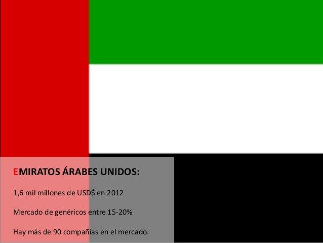 EMIRATOS ÁRABES UNIDOS: 1,6 mil millones de USD$ en 2012 Mercado de genéricos entre 15-20% Hay más de 90 compañías en el m...