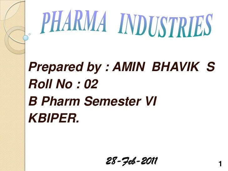 Prepared by : AMIN BHAVIK SRoll No : 02B Pharm Semester VIKBIPER.           28-Feb-2011        1