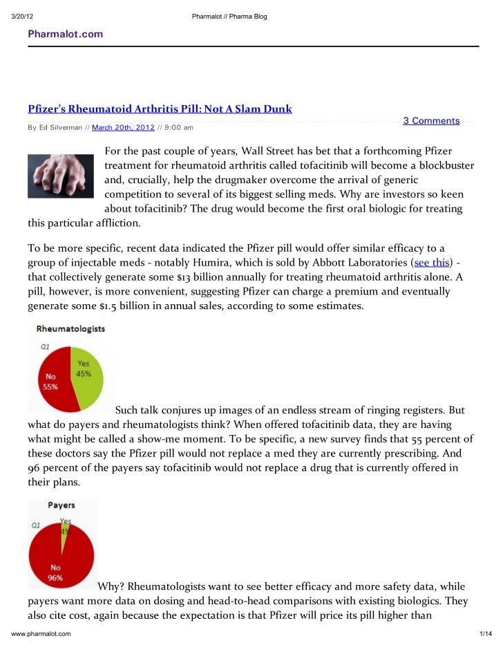Pfizer's Rheumatoid Arthritis Pill Not A Slam Dunk