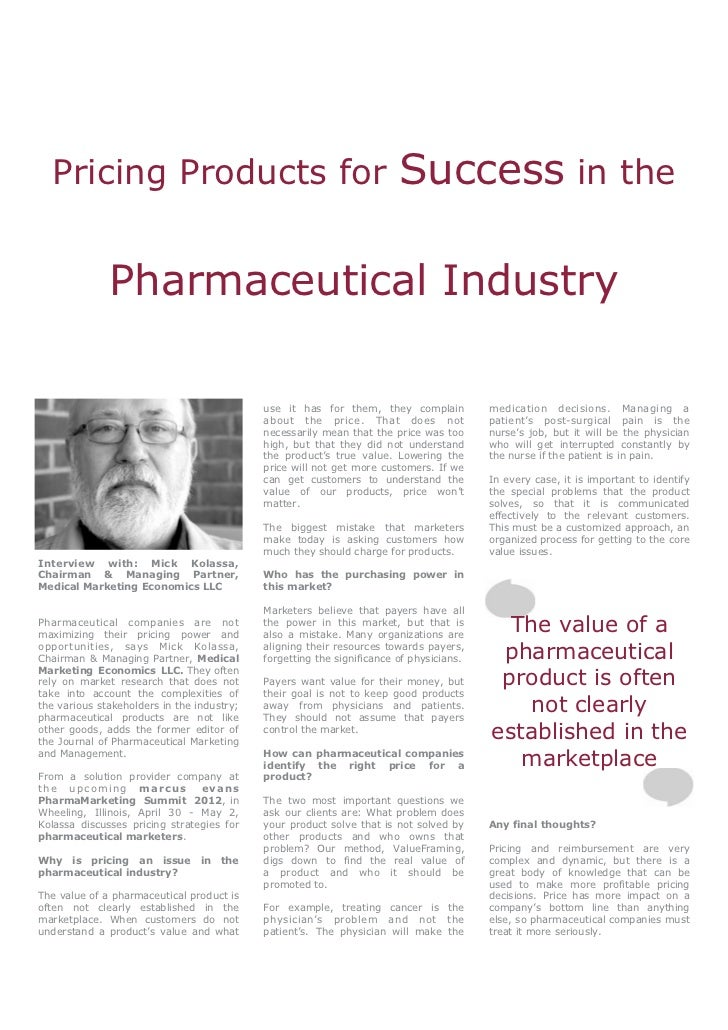 Pricing Products for                                                  Success in the              Pharmaceutical Industry ...