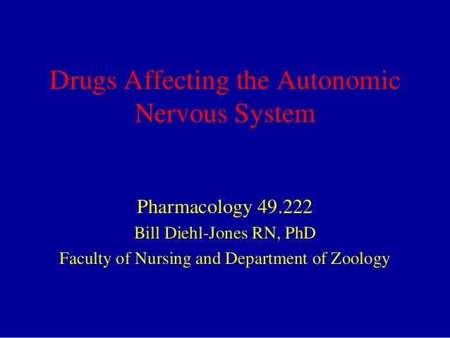 Drugs Affecting the Autonomic Nervous System  Pharmacology 49.222 Bill Diehl-Jones RN, PhD Faculty of Nursing and Departme...