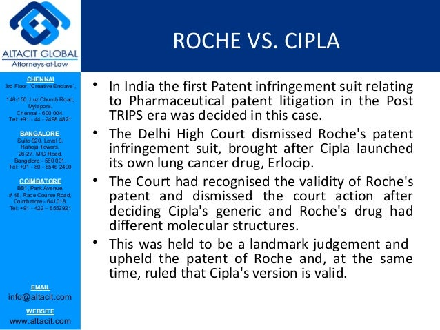 cipla v roche case note The long awaited hoffman-la roche v cipla judgement was finally passed last week marking the end of the first phase of a key battle between big pharma and the indian generic industry.