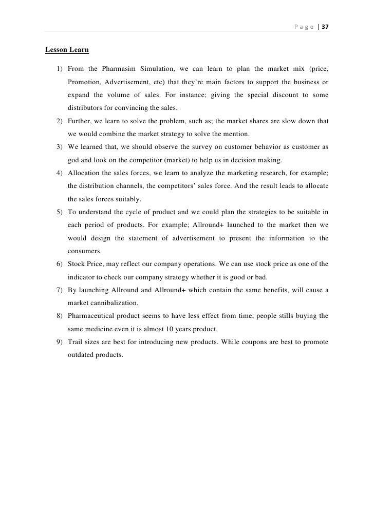 PharmaSim OCM Group Allstar Brands - Lab Report Example