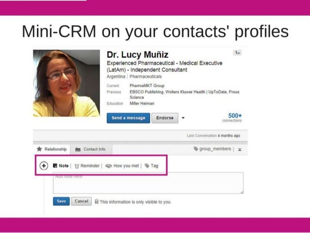 """Mini-CRM on your contacts' profiles  Dr.  Lucy Mufiiz '""""  Experienced Phannaceutical - Medical Executive  (LatAm) - indepen..."""
