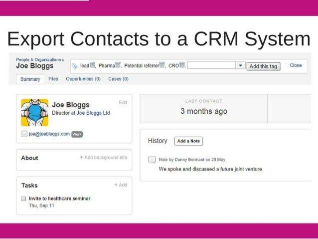 Export Contacts to a CRM System  Peopleaiorguizflonaa  Joe Bloggs fig.  Ieadi,  Priamiai.  Potentiairererreri.  cRoi, I v I ...