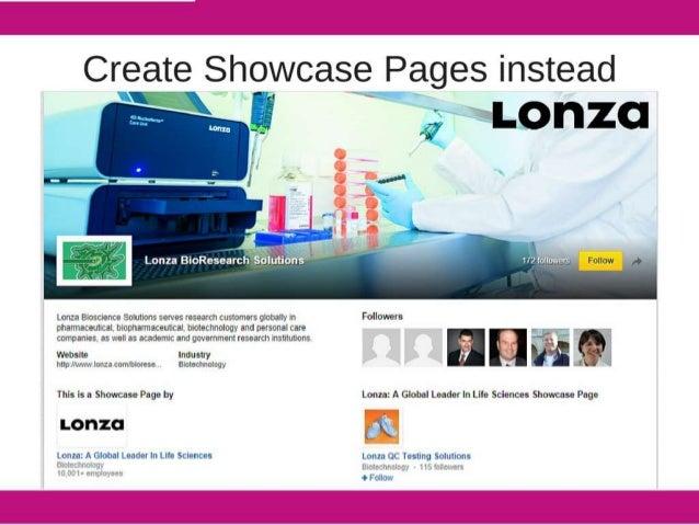 "f  Create Showcase Pages instead   ZR 9..  -, ,.. V. __.                eO""~' . _ L Follow 1'-' I r  Lonza Btoectence Soui..."
