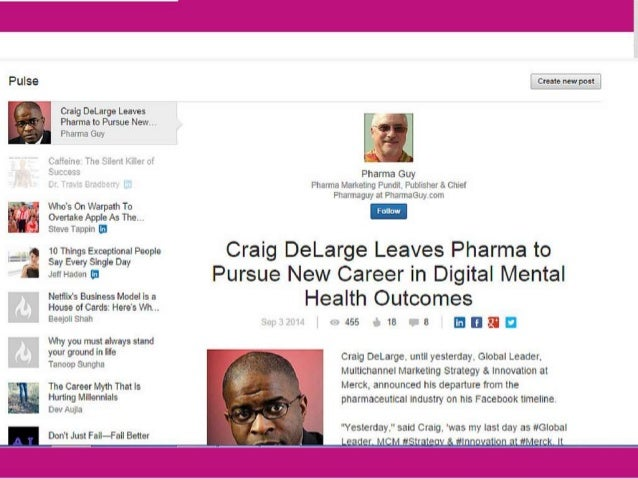 "Pulse cmtenewpgl  Craig DeLarge Leaves Pharma to Pursue Newt.  Pharma Guy     e The E~sie""'.  N» e"" i      Pharma Guy Phar..."