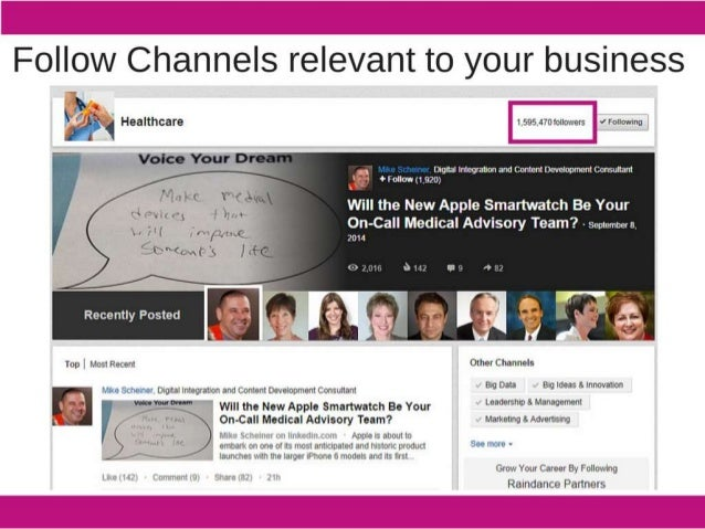 Follow Channels relevant to your business   Healthcare 1595 Jroroiiowers -'Fo| IowIng          Dlqllal lnlcoratmn and Cont...