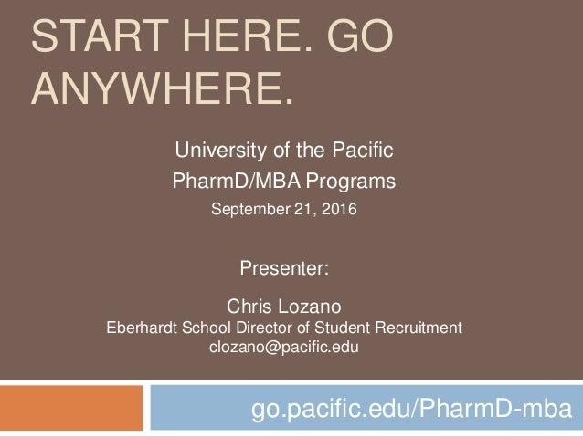 START HERE. GO ANYWHERE. go.pacific.edu/PharmD-mba University of the Pacific PharmD/MBA Programs September 21, 2016 Presen...