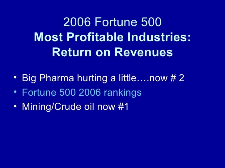 2006 Fortune 500 Most Profitable Industries: Return on Revenues <ul><li>Big Pharma hurting a little….now # 2 </li></ul><ul...