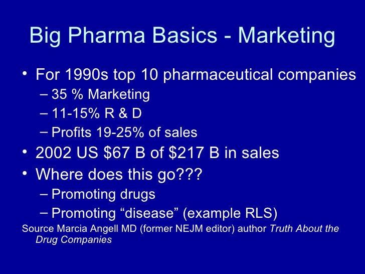 Big Pharma Basics - Marketing <ul><li>For 1990s top 10 pharmaceutical companies </li></ul><ul><ul><li>35 % Marketing </li>...