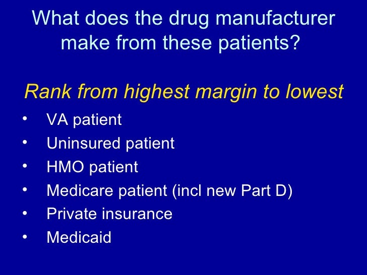 What does the drug manufacturer make from these patients?  Rank from highest margin to lowest <ul><li>VA patient </li></ul...